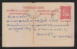 India  1951  Travancore  6P PLUS 2 CASH  Postal Stationary   Postcard # 49212  Inde  Indien - Travancore-Cochin