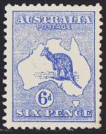 Australia 1913 Kangaroo 6d Blue 1st Watermark MH -  Superb - SG9 - Mint Stamps