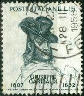 ITALIA, ITALY, ITALIE, REPUBBLICA, 1957, GARIBALDI, FRANCOBOLLO USATO, Scott 733, YT 749, Un 822 - 6. 1946-.. Repubblica