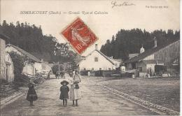 7535 - Sombacourt (Doubs) Grande Rue Et Calvaire Char De Foin Et Boeufs - France