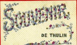 CPA  Souvenir De  THULIN   Carte à Paillettes   VPF  1907 - Quievrain