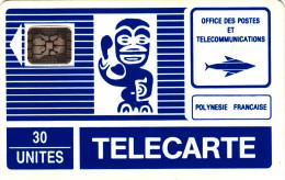 FRENCH POLYNESIA - TIKI Bleu(PF3B)(grand Logo), Chip SC5, CN : 15533, Tirage %35000, 04/90, Used - French Polynesia