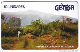 Equatorial Guinea, EQG-04, 50units, Landscape - Reverse A, Black Text, 2 Scans.  Chip : SC5, CN : 42336
