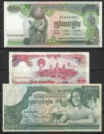 CAMBODGE . LOT DE 3 BILLETS . - Cambodia