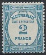 FRANCE - Taxe - 2 F. Bleu De 1927-31 Neuf TB - Taxes