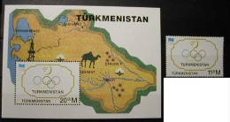 TURKMENISTAN 1994 - CENTENARIO DEL COI - YVERT Nº 55 + BLOCK Nº 6 - Turkmenistán