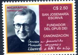 Nicaragua 2002 - Canonization Of Saint Josemaria Escriva De Balaguer - Founder Of Opus Dei - Catholic Religion - Nicaragua