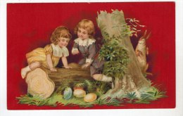 2067   Easter  Young Boy & Girl Playing On Tree Stump - Easter