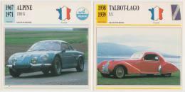 COLLECTOR CARDS: GRAND TOURISME - FRANKRIJK: ALPINE 1300 G & TALBOT-LAGO S.S. - Auto's
