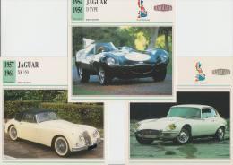 COLLECTOR CARDS:  3x JAGUAR : XK 150, D-TYPE & E TYPE COUPÉ '2 + 2' - ENGELAND/GREAT BRITAIN - Cars