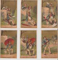 Guerin-Boutron.vauriens,p Arapluie. Série De 6 Chromos Fond Or ,numerotée. - Guérin-Boutron