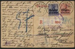 14-18 - Entier Carte Postale Recom. HERSTAL 1916 Vers Maastricht Et Réexp. Vers L'Angleterre + Censures - Weltkrieg 1914-18