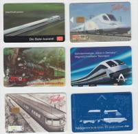 6 Phonecards: TREIN / ZUG / TREN / TRAIN - RAILWAY / SPOORWEGEN / BAHN (2 Scans) - Verzamelingen