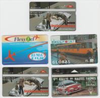 5 Phonecards TRANSPORT : AUTO-RALLYE, TRAM/STRAßENBAHN , USA CAR (2x) , AIRPLANE (2 Scans) - Phonecards