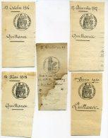 Timbre Royal 13 Messidor An 12 + 4 Cachets République Française 1906 07 08 10 Avec Cachets Emboutis - Seals Of Generality