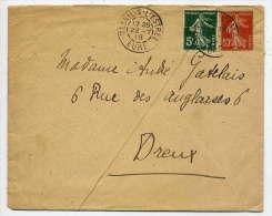 1918--Lettre De MESNIL S.L´ESTREE--27 Pour DREUX--28--Semeuse Sans Sol--beau Cachet -Mesnil S L´Estrée-Eure Du 22-7-18 - Marcophilie (Lettres)