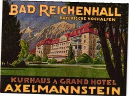12  Hotel Labels - Etiketten -Duitsland - Ski -Bayreuth - Niederwald - Koblenz - Konstanz - Axelmannstein - Murnau - Hotelaufkleber