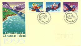 CHRISTMAS ISLAND FDC CHRISTMAS SANTA BIRD CARTOON SET OF 3  STAMPS  DATED 14-09-1995 CTO SG? READ DESCRIPTION !! - Christmas Island