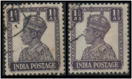 """India (King George VI) 1½a. (Sc # 172a) Error: Wrong Color """"Light Purple"""" Instead Of """"Dark Purple"""" - Right One (Used) - India (...-1947)"""
