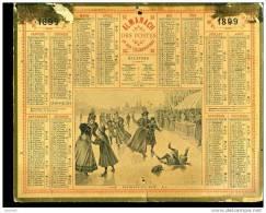 Calendrier 1899 Patinage Au Bois - Calendriers