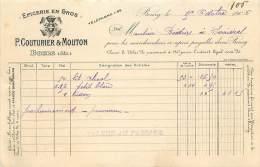 LETTRE FACTURE : BOURG . P. COUTURIER & MOUTON . EPICERIE EN GROS . 1906 . - Frankrijk