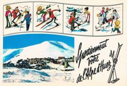 L´ALPE D´HUEZ (Isère) - Sportivement Vôtre De L´Alpe D´Huez - Vue De La Station + Dessins Humoristiques De Skieurs - France