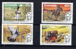 GRENADA 1979, R. HILL, MESSAGER A PIED, CHEVAL, PIGEON VOYAGEUR, MALLE-POSTE, 4 Valeurs, Neufs. R457 - Grenada (1974-...)