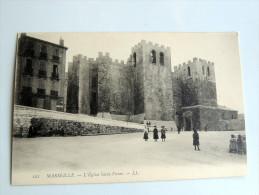 Carte Postale Ancienne : MARSEILLE : L'Eglise Saint-Victor , Animé - Otros