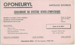 - Buvard Pharmacie - Produits Paharmaceutiques - OPONEURYL   - LABORATOIRE ELERTE - Aubervilliers - Chemist's