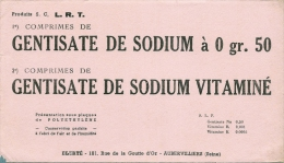 - Buvard Pharmacie - Produits Paharmaceutiques - GENTISATE DE SODIUM  - LABORATOIRE ELERTE - Aubervilliers - Produits Pharmaceutiques