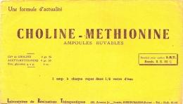 - Buvard Pharmacie - Produits Paharmaceutiques -  Methionine  CHOLINE- LABORATOIRE ELERTE - Aubervilliers - Chemist's