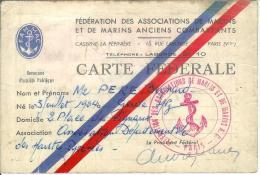 """Cachet """"fédération Des Associations De Marins Et Marins A.C.-Paris- Sur Carte Fédérale - Seals Of Generality"""