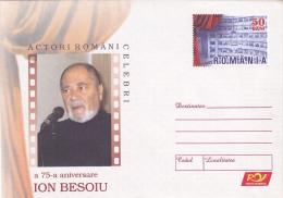 FAMOUS ROMANIAN ACTORS  ,CINEMA,  75TH ANNIVERSARY OF ION BESOIU , COVER STATIONERY , UNUSED, 2006 , ROMANIA - Cinema