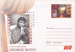 FAMOUS ROMANIAN ACTORS  ,CINEMA,  70TH ANNIVERSARY OF GEORGE MOTOI , COVER STATIONERY , UNUSED, 2006 , ROMANIA - Cinéma