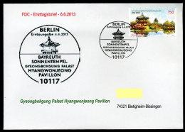 27864) BRD - Michel 3013 / 3014 - 2 FDC ESST Berlin - Sonnentempel Bayreuth, Gyeongbokgung Palast Hyangwonjeong Pavillon - [7] République Fédérale