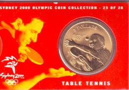 AUSTRALIA $5 OLYMPIC GAMES SYDNEY TABLE TENNIS 2000 UNC - Moneda Decimale (1966-...)