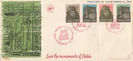 Indonesië - FDC 8-3-1964 - Redding Van De Nubische Monumenten - Zonnebloem 446 - 449 - Indonesien