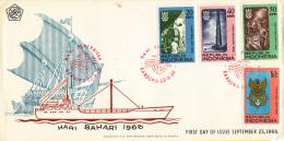 Indonesië - FDC 23-9-1966 - Dag Van De Scheepvaart - Zonnebloem 540 - 543 - Indonesien