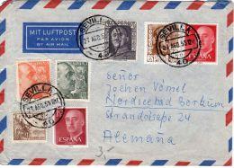 27.8.1955 ,  Interessanter Brief Ab Sevilla Nach Borküm,  Deutschland, Siehe Scan, Los 39152 - 1951-60 Briefe U. Dokumente