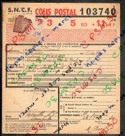 Colis Postaux Bulletin D'expedition 5kg 11fr40 N°103740 Timbre 3f0 Cachet Gare S.N.C.F. PLURIEN - Lettres & Documents