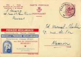 PUBLIBEL 1734 : PREMIÈRE NÉERLANDAISE - ASSURANCES VIE / RENTES VIAGÉRES - ENVOYÉ De FELURUS à NAMUR En 1960 (o-283) - Stamped Stationery