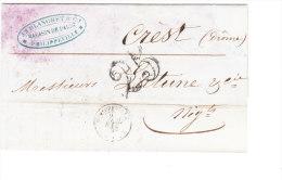 ALGERIE Lettre De PHILIPPEVILLE Du 7 AVRIL 1853 Vers La France à Crest (CHIFFRE 25) - Algeria (1924-1962)