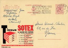PUBLIBEL 2131 : TISSUS SOTEX - MAISON DES COUPONS - ENVOYÉ De MONS à NAMUR En 1966 : FESTIVAL MUSIQUE MILITAIRE (o-290) - Stamped Stationery