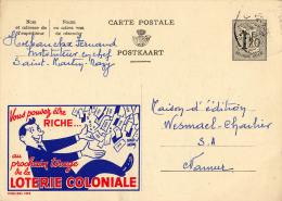 PUBLIBEL 1353 : LOTERIE COLONIALE - ENVOYÉ De SAINT-MARTIN à NAMUR En 1956 (o-291) - Stamped Stationery