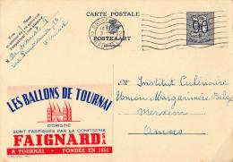 PUBLIBEL 1021 : LES BALONS DE TOURNAI - CONFISERIE FAIGNARD - ENVOYÉ De BRUXELLES à ANVERS En 1952 (o-292) - Stamped Stationery