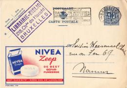 PUBLIBEL 1114 : NIVEA ZEEP - DE BEST [ SAVON ] - ENVOYÉ De BRUXELLES à NAMUR En 1952 (o-295) - Stamped Stationery