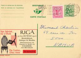 PUBLIBEL 2458NF : RIGA - FABRIQUE DE MEUBLES - SCHAERBEEK - ENVOYÉ De BRUXELLES à NAMUR En 1973 (o-308) - Stamped Stationery