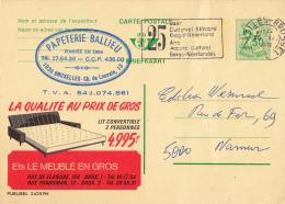 PUBLIBEL 2425FN : LIT CONVERTIBLE - ETS. LE MEUBLE EN GROS - BRUXELLES - ENVOYÉ De BRUXELLES à NAMUR En 1971 (o-310) - Stamped Stationery