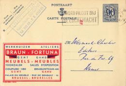 PUBLIBEL 1074 : BRAUN - FORTUNA : GENT / GAND - MEUBLES - ENVOYÉ De GENT à NAMUR En 1952 (o-312) - Stamped Stationery