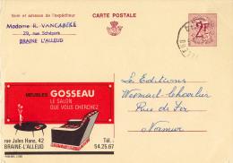 PUBLIBEL 2908 : MEUBLES GOSSEAU - BRAINE-L´ALLEUD - ENVOYÉ De BRAINE L´ALLEUD à NAMUR En 1968 (o-315) - Enteros Postales
